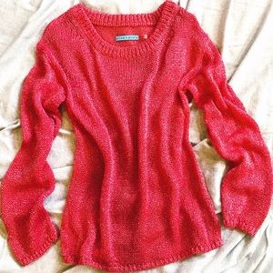 58dc3aed6ae326 Alice + Olivia Sweaters - Alice & Olivia Ruby Red Metallic Cozy Open Knit